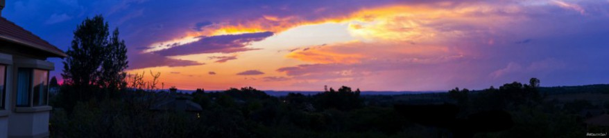 Beautiful Panoramic Sunset With Colorful Clouds