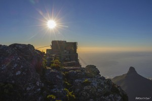 Sunset over the Table Mountain cable car station