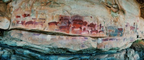 Rock painting at Game Pass Shelter, often referred to as the