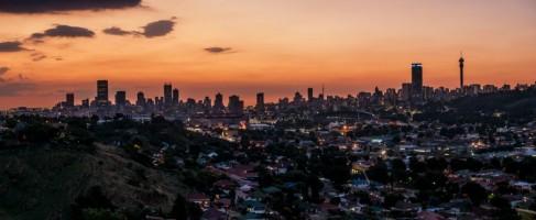 Johannesburg skyline by mitchell krog digital gallery johannesburg city skyline panorama at dusk altavistaventures Images